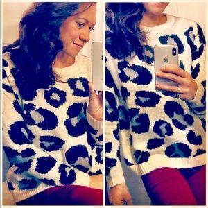 Sweaters - Leopard Print Scoop Neck Sweater